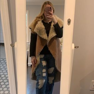 Long fuzzy faux shearling and suede vest